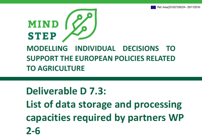 Deliverable D 7.3: List of data storage and processing capacities required by partners